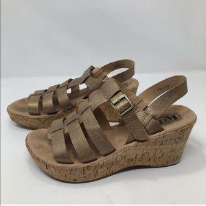 Korks by Kork-Ease Rose Gold Platform Sandals